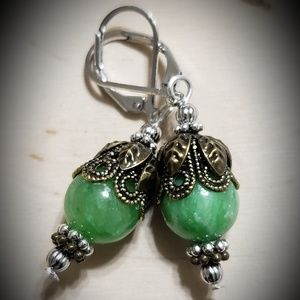 Handmade Green Jade Gemstone Earrings